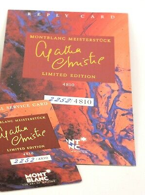 Sparsam Montblanc Agatha Christie 4810 Limited Edition Service Reply Card