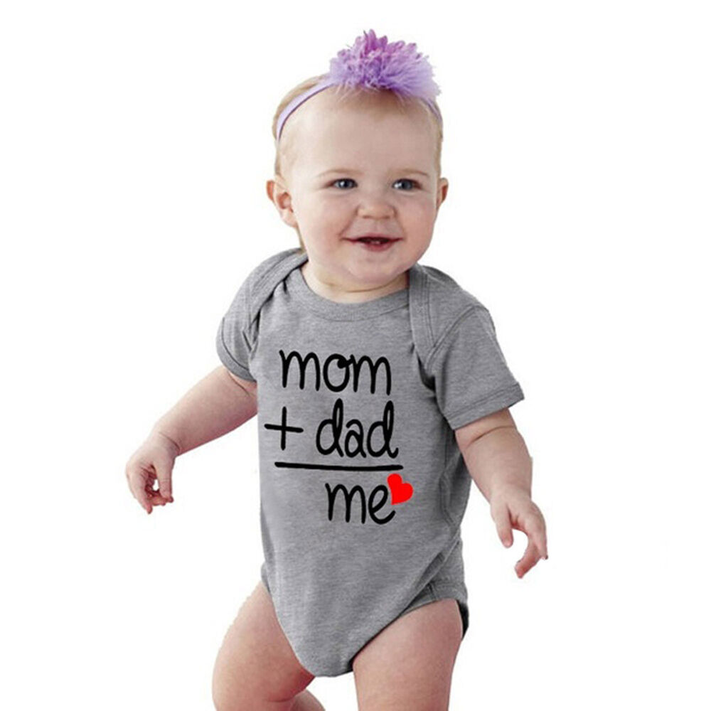 Mom Dad Me Letter Print Newborn Baby Short Sleeve Summer Bodysuit Romper Newly Baby