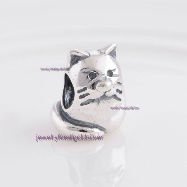 Sterling Silver 925 European Charm Kitty Cat Bead