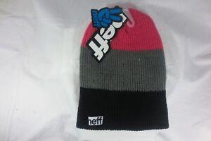 728a4eb9671 Neff Headwear - Trio Beanie - Color Black Gray Pink - Size O S - NEW ...