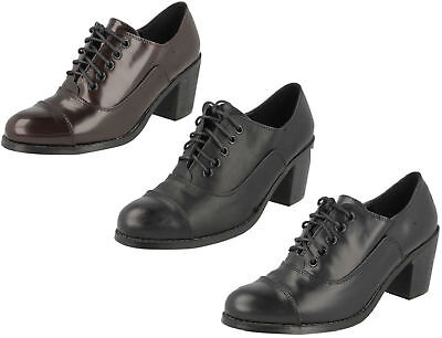 F9R751 SPOT ON LADIES LACE UP BLOCK HEEL SMART WORK TROUSER CASUAL SHOES SIZE