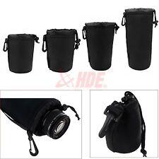 4pcs Neoprene DSLR Lens Soft Pouch Protector Case Bag S M L XL Canon Nikon Sony