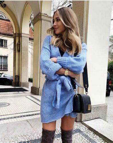 Double Cardigan Bnwt Blue Zara Størrelse Small Strikket Breasted q7IRU