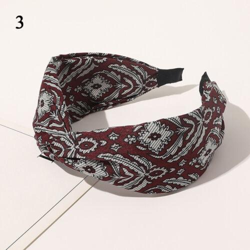 Women Pleated Hair Band Boho Floral Print Cross Knot HairHoop Wide Side Headband