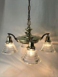 Antique Vintage Lustre Arts Crafts Déco Victorienne Hanging Pan Lumière Laiton, Verre