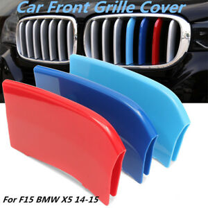 Kidney-3-Color-M-Tech-Grill-Grille-Trim-Stripes-Clips-Cover-For-F15-BMW-X5-14-15