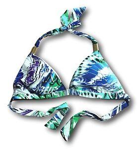 ELLE-Womens-Size-S-M-L-XL-Blue-Purple-Gold-Metal-Triangle-Halter-Swim-Bikini-Top