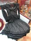 ancienne robe longue epoque 1900 dentelle noire galons de velours satiné
