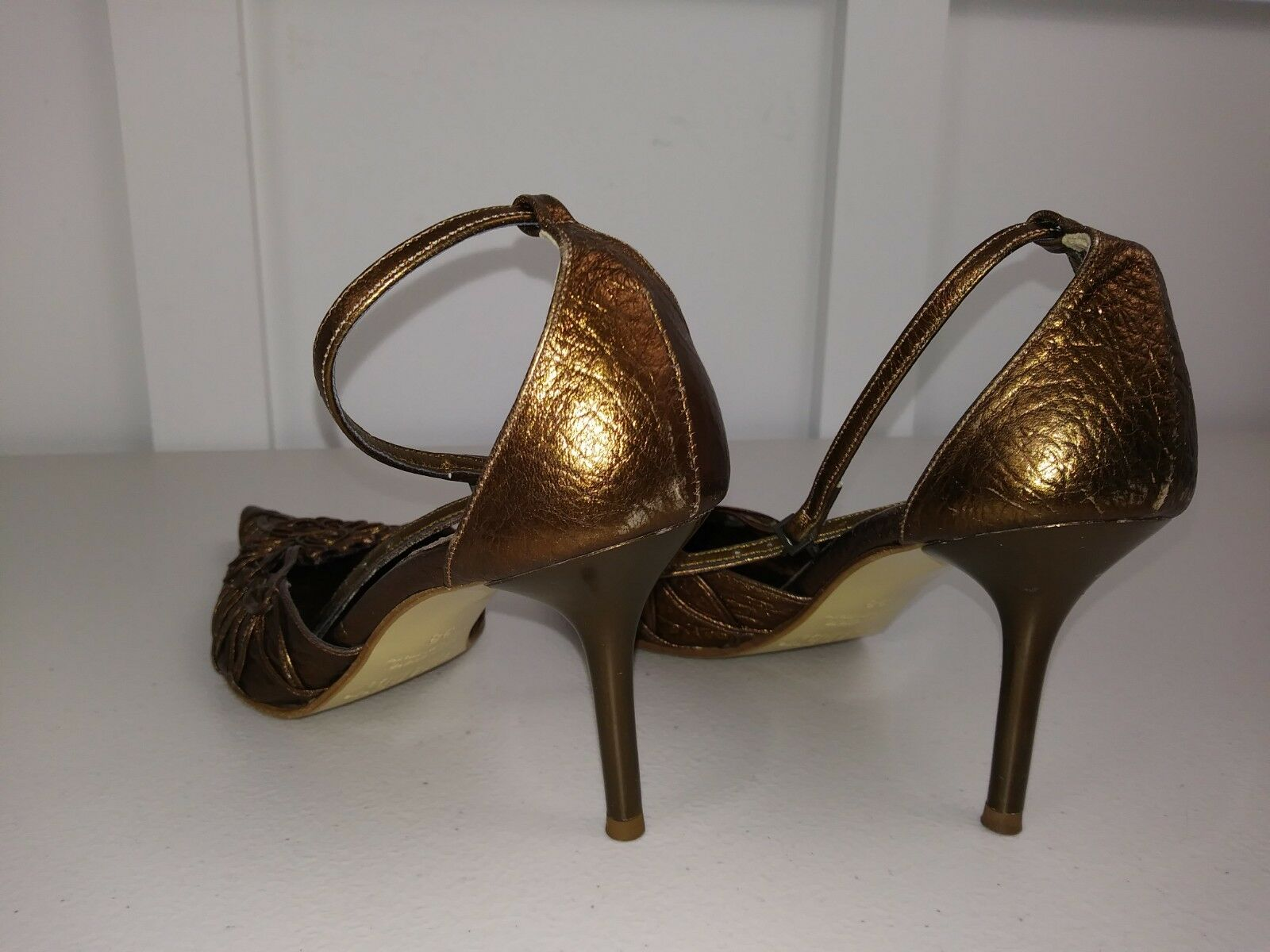 SHADEY 8 METALLIC METALLIC METALLIC gold BRONZE 3  HEAL POINT TOE SLINGBACK LADIES PUMP MADE ITALY ec2888
