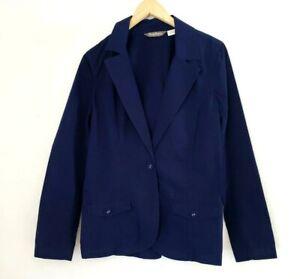 Tommy-Bahama-Chino-Navy-Blue-Blazer-Jacket-Womens-Size-Medium-100-Cotton