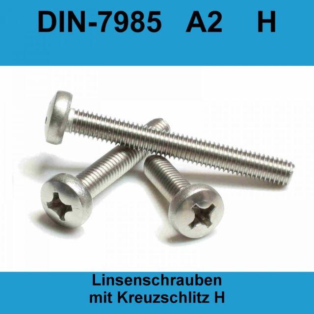 M 5  x 20 500 Stück Linsenkopfschrauben DIN 7985-H Edelstahl A2 Kreuzschl. PH