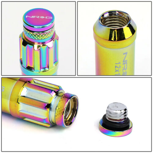 NRG Extended Steel Lug Nuts w//Dust Cap Cover M12X1.5 20Pcs+Lock Key Neo Chrome
