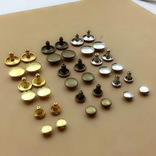 100pcs 6//8//10mm Round Double Cap Rivets Leather Craft Stud Repair Tool DIY Sets