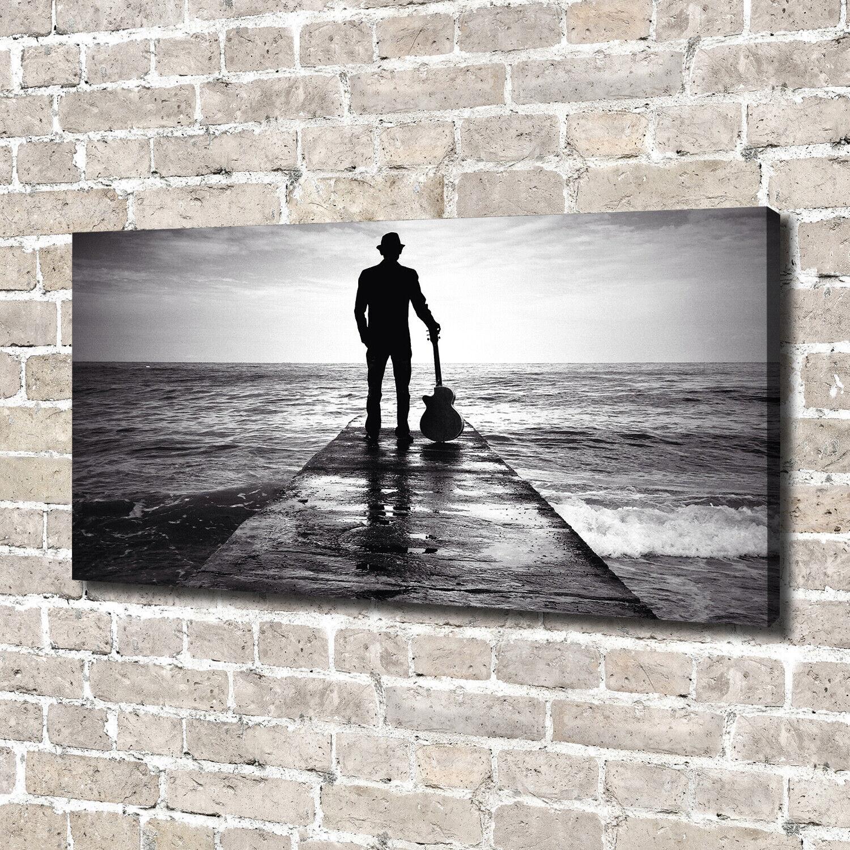 Leinwandbild Kunst-Druck 140x70 Bilder Menschen Gitarrist Pier