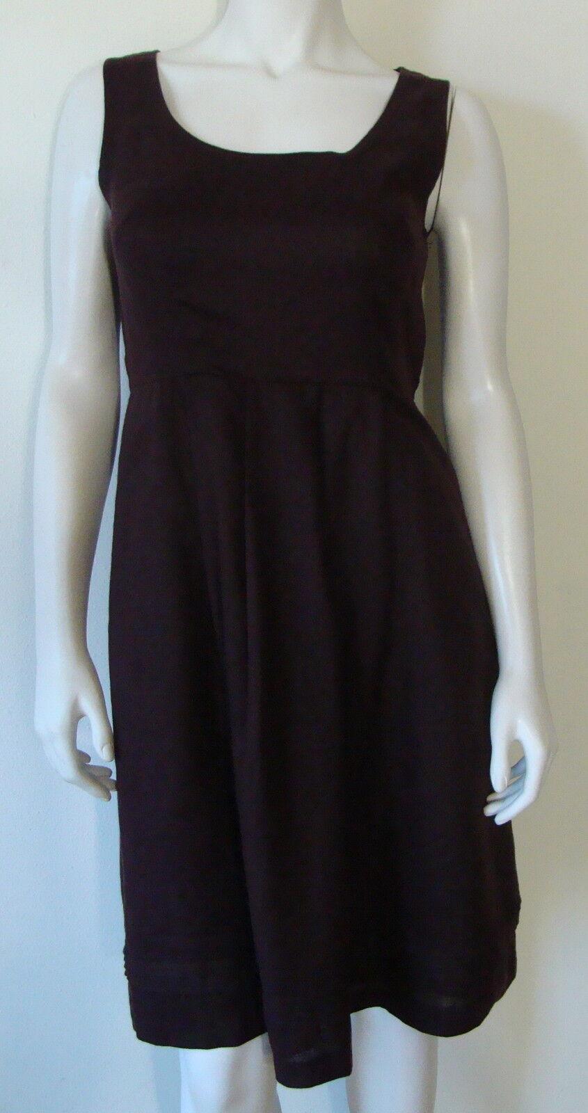 BANANA REPUBLIC Brown Sleeveless Dress below Knee 100% Linen 3 Pleat Front Sz 4