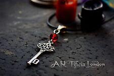 """'Dragon's Soul """"Collana con chiave d'argento pietra ROSSA gioielli Vampiro Gotico Alchimia"""