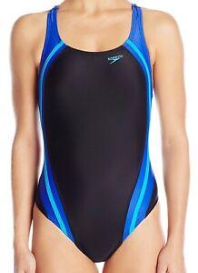 Speedo-Womens-Swim-Black-Blue-Size-10-Powerflex-Quantum-Splice-Swimsuit-78-934