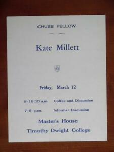 1971-KATE-MILLETT-Feminist-Yale-Chubb-Fellow-Lecture-Poster-Vintage-Original
