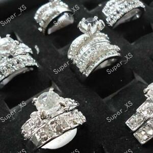 4pcs-zircon-rhinestone-silver-Plated-rings-wholesale-jewelry-lots-free-shipping