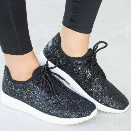 Ladies Trainers Sequin Glitter Running Womens Sneakers Flats Gym Sports Shoes