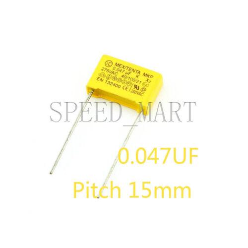 10 pcs Polypropylene Safety Capacitor 473K 275V 0.047UF 47NF Pitch 15mm
