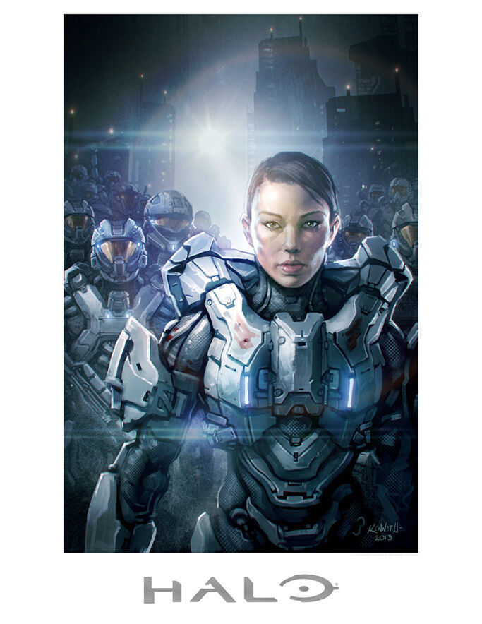 Halo Game Sarah Palmer Commander of Spartan IV's Gamer Fine Art Lithograph Print