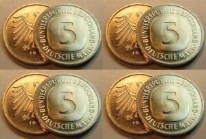 Germany 5 DM Currency Coin 1976 Dfgj 4 Piece Complete Top-Erhaltung Prfr-St