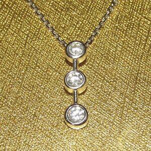 Beautiful secondhand14ctgold diamond trilogy pendant on 9ctwhite image is loading beautiful secondhand14ctgold diamond trilogy pendant on 9ctwhite gold aloadofball Choice Image