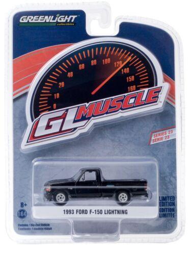 1:64 GreenLight *GL MUSCLE R23* BLACK 1993 Ford F-150 LIGHTNING Pickup Truck NIP