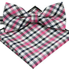 *BRAND NEW* BRICK RED/&OLIVE GREEN CHECKED MENS BOW TIE/&POCKET SQUARE SET1153