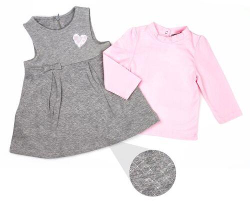 Bebé Niñas Vestido Set en Rosa y Plata Gris Edad 3-24 meses en Algodón Rico