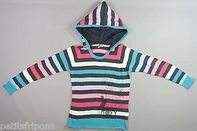 Pull à capuche tricot rayé multicolore Roxy 12 ans filles