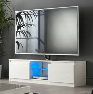 Modern Tv Stand Cabinet 120cm White Gloss With Blue Led Lights For 50 55 Tv S 5060366061669 Ebay