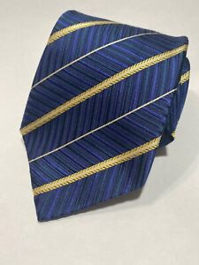 Ermenegildo-Zegna-Blue-Gold-Silver-Stripe-Silk-Tie-excellent-condition-Italy
