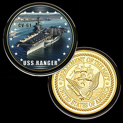 us navy USS Ranger (CV61) GP Challenge pinted Coin