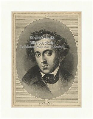 Felix Mendelssohn Bartholdy Organist Pianist Romantik Dirigent Holzstich E 19824 Farben Sind AuffäLlig Antiquitäten & Kunst