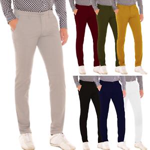 Pantalone-Uomo-Slim-fit-Chino-Elegante-Invernale-America-Cotone-Tasca-america