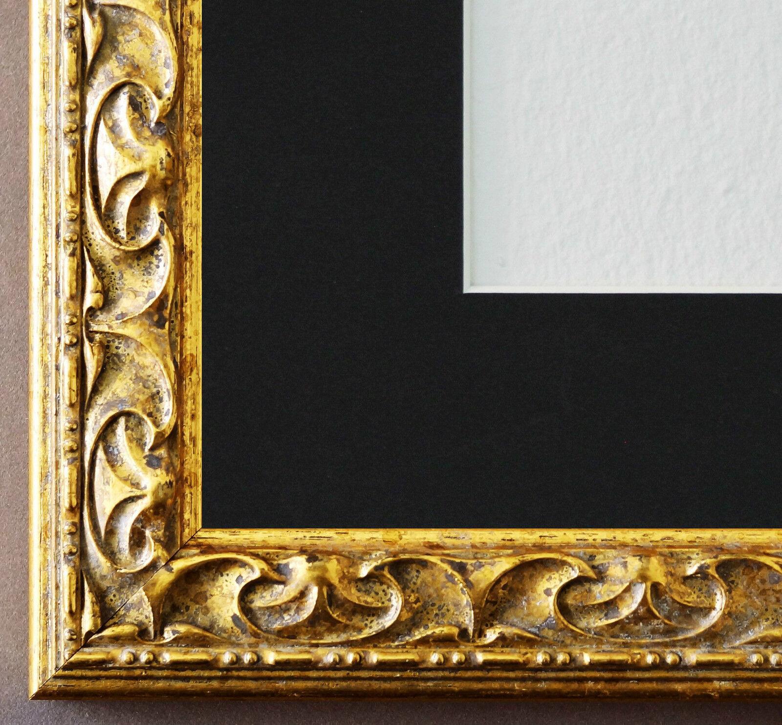 Bilderrahmen mannntova in Gold mit Passepkunstout in Schwarz 3,1 Top Qualität