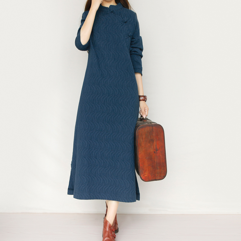 Women Linen Cotton Maxi Dress Long Sleeve Loose Retro Chinese Style Casual Qipao