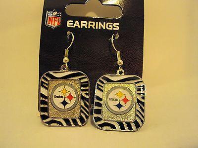 """NFL Football Team Charm 7/8"""" x 1"""" Color ZEBRA Stripe Silver Dangle Drop Earrings"""