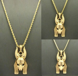 Gold ancient egyptian anubis god pendant cuban box rope chain image is loading gold ancient egyptian anubis god pendant cuban box aloadofball Images