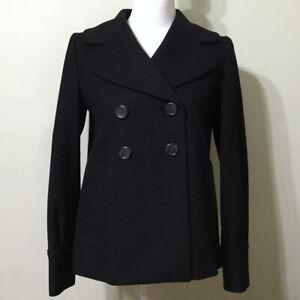 Banana-Republic-Pea-Coat-Black-XS-Women-039-s-Wool-Blend-Double-Breasted-Winter-Fall