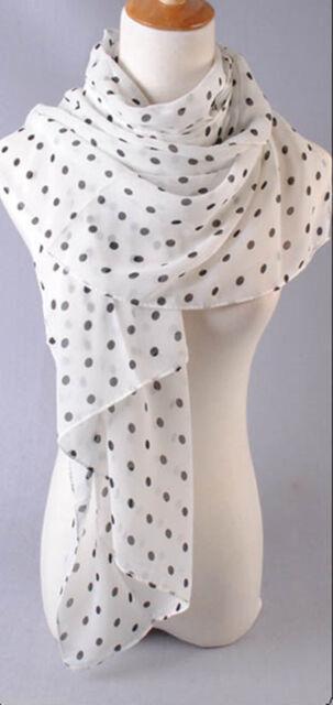 New Women's Black & White Polka Dot Scarf Soft Chiffon Scarves Long Wrap Shawl