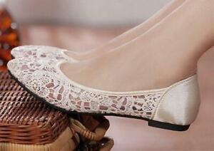 Ivory-blue-silk-satin-Wedding-flat-ballet-lace-Bride-Bridesmaid-shoes-sz-5-9-5