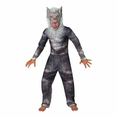 Mask Kids Deluxe Werewolf Costume Boys Halloween Fancy Dress incl Muscle Top