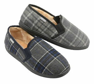 Dunlop-Mens-Slippers-Slip-On-Twin-Gusset-Fur-Lined-Memory-Foam-In-Sock-Size-7-12