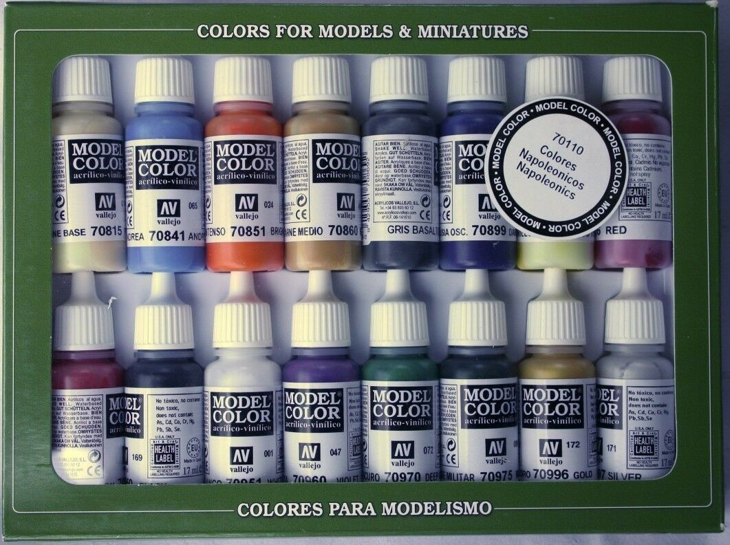 Vallejo Napoleonic War Coloreees 16 Botella Set de Pinturas VAL70110 + Cepillo