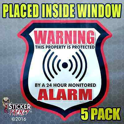 """INSIDE 3 Pack Warning 24 hour Security Sys Stickers /""""OCT/"""" RED Alarm Decal FS062"""