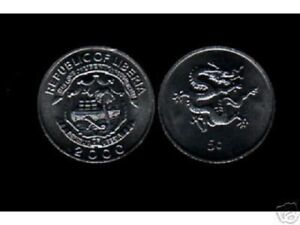 LIBERIA-5-CENTS-KM474-2000-DRAGON-SHIP-MILLENNIUM-UNC-COIN-X-500-PCS-AFRICA-LOT