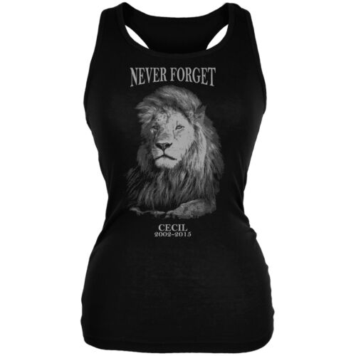 Cecil The Lion Never Forget Black Juniors Soft Tank Top
